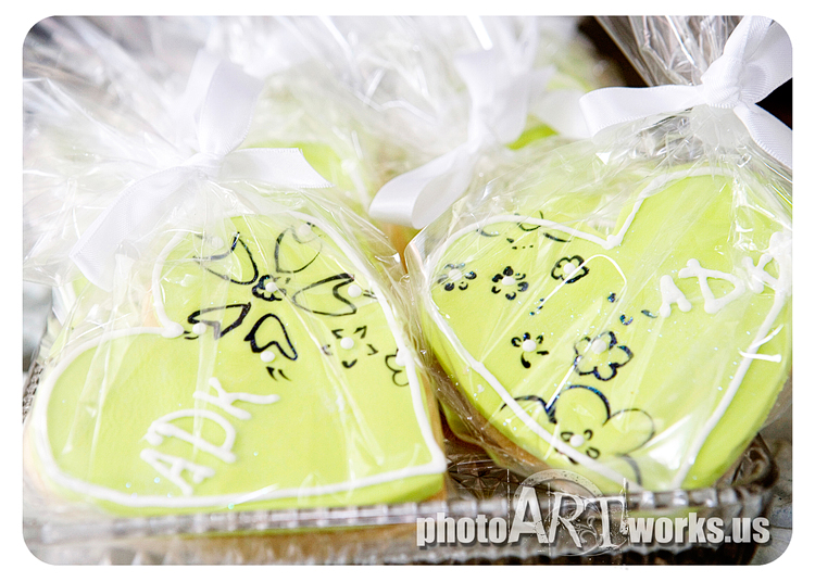 Lime green heart cookie
