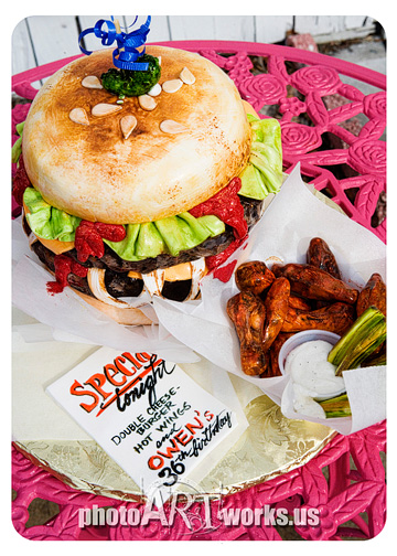 Burger and Wings cake